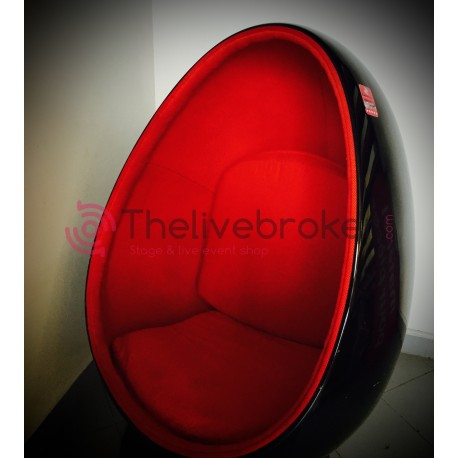 Fauteuil design rouge et noir - Oeuf egg chair - vente occasion